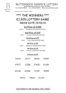 Lottery Winners 19.03.21